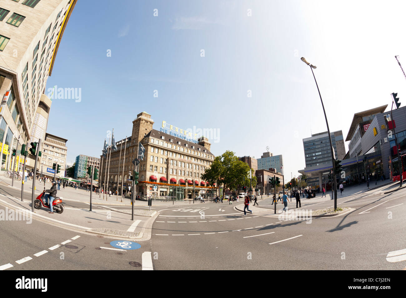 Fisheye view of Essen city center - Stock Image