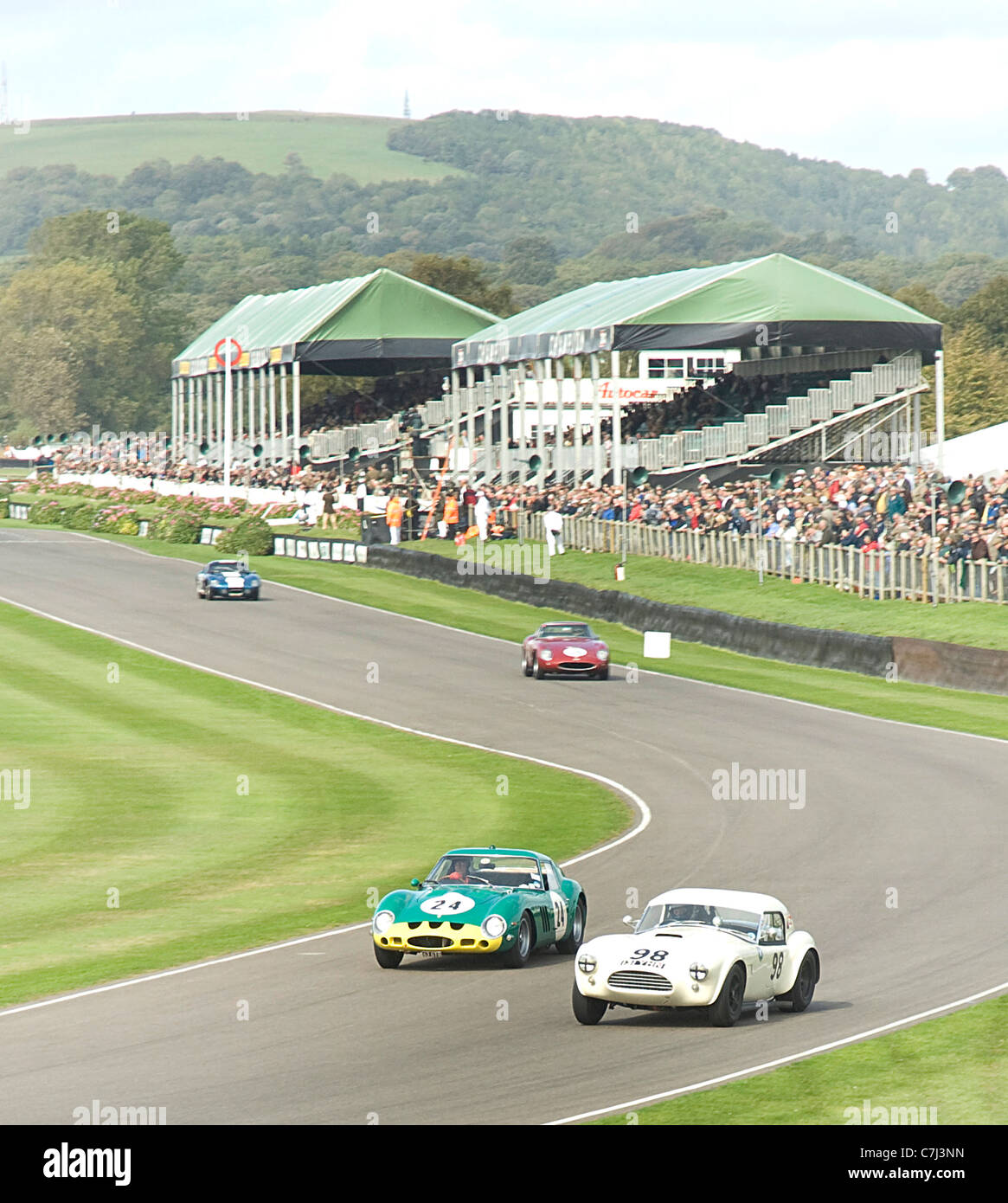 2011 Goodwood Revival Meeting. AC Cobra and Ferrari 250 GTO at Madgwick corner during qualifying for Tourist Trophy - Stock Image