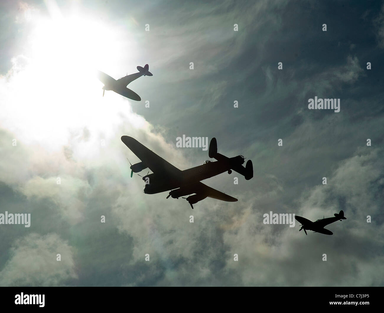 Lancaster Bomber and Spitfire Fighter Planes at 2011 Goodwood Revival - Stock Image