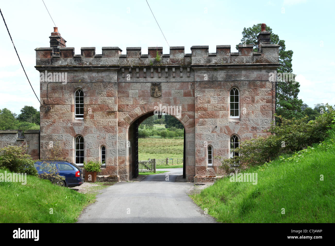 Somerset Lodge South gate house or gatehouse at Cholmondeley Castle Cheshire, England, UK Stock Photo