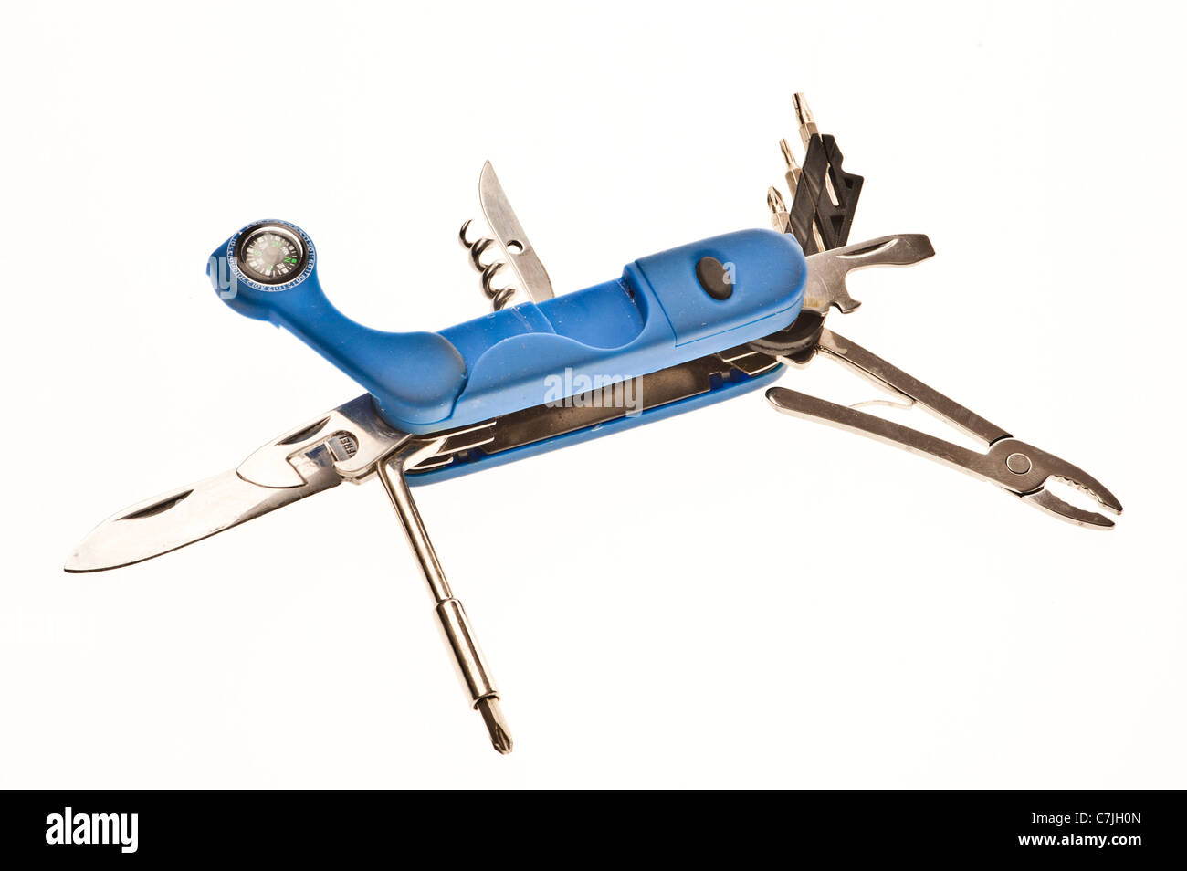 An opened multi-tool penknife on a white backlit background - Stock Image