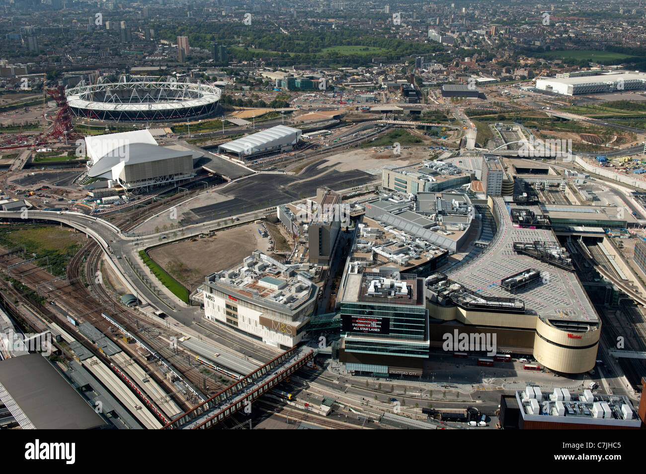 The Westfield Shopping Centre at the Olympic Park London from the air. - Stock Image
