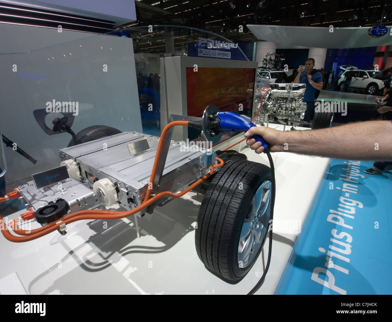 Demonstration of Toyota Prius Hybrid engine design at Frankfurt Motor Show or IAA 2011 Germany - Stock Image