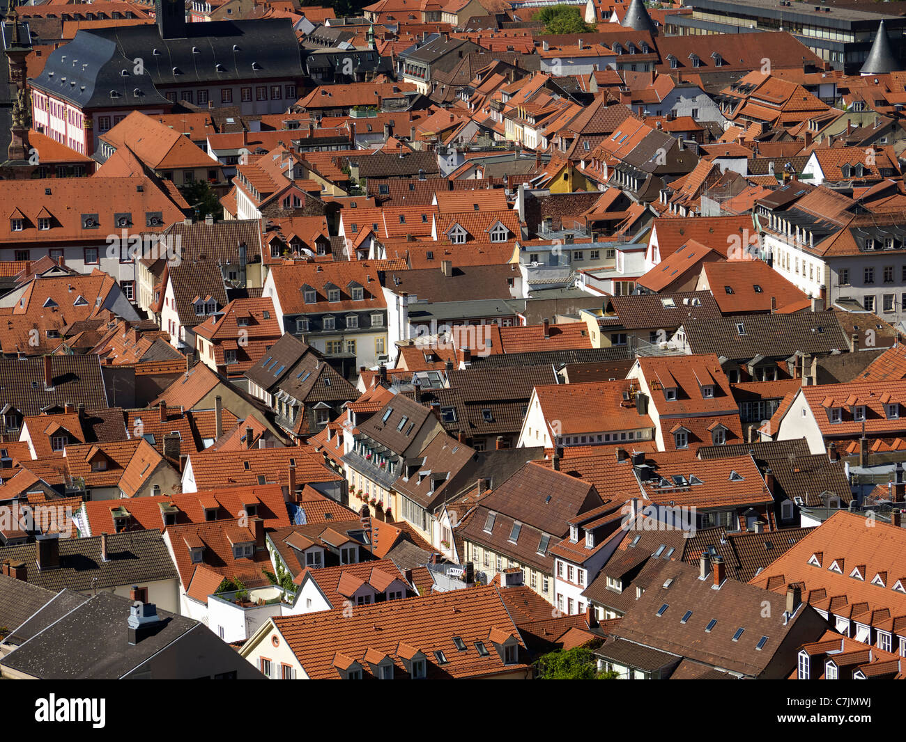 View of rooftops in historic old town of City of Heidelberg in Baden-Wurttemberg Germany - Stock Image