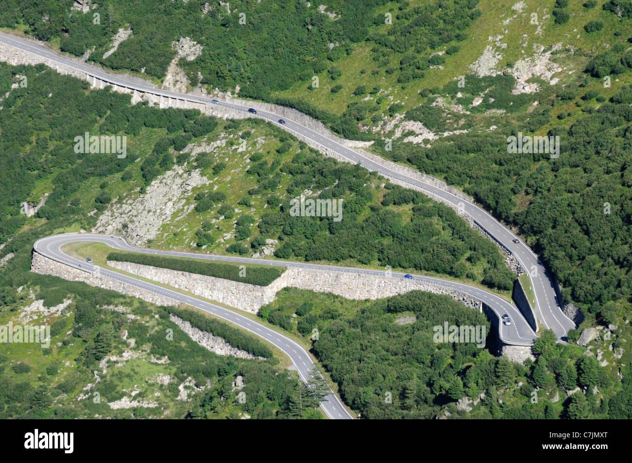 Switzerland, Furkapass nr. Gletsch. South-western ascent of the Furka mountain road from Gletsch. - Stock Image
