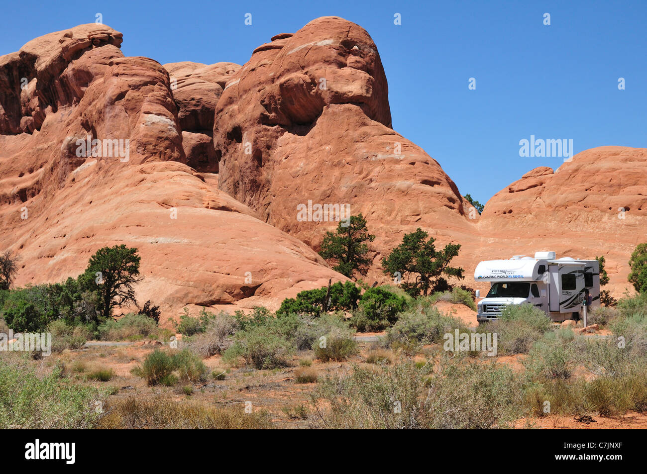 Motorhome camper in Arches National Park - Stock Image