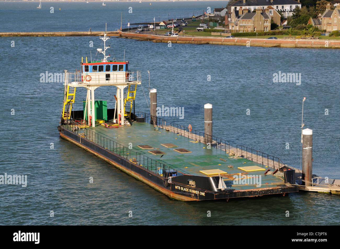 MTB Blade Runner One a open deck freight vessel for shallow water operating in the Southampton & Isle of Wight - Stock Image