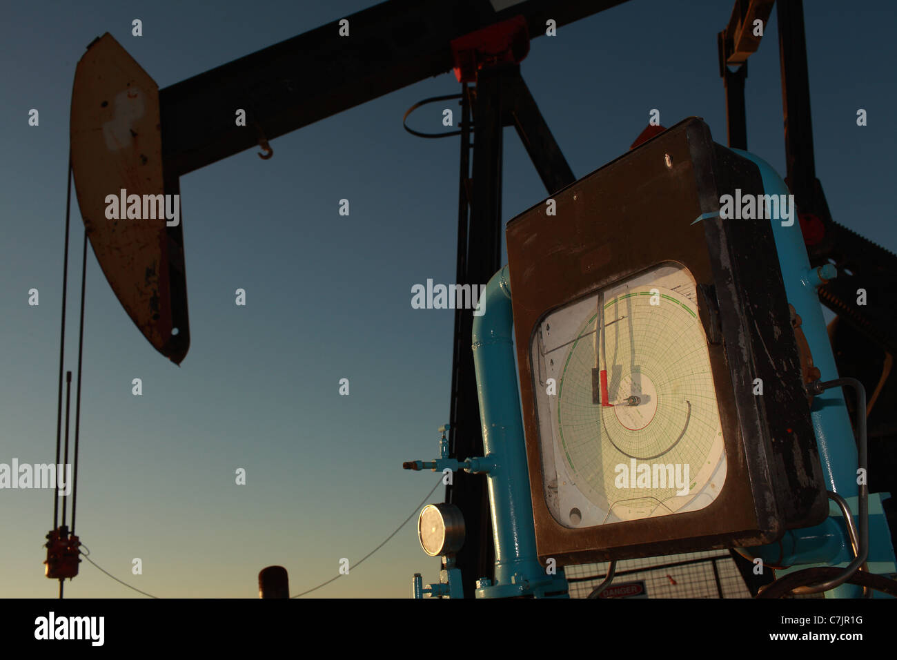 Close up of gauge on oil pump - Stock Image