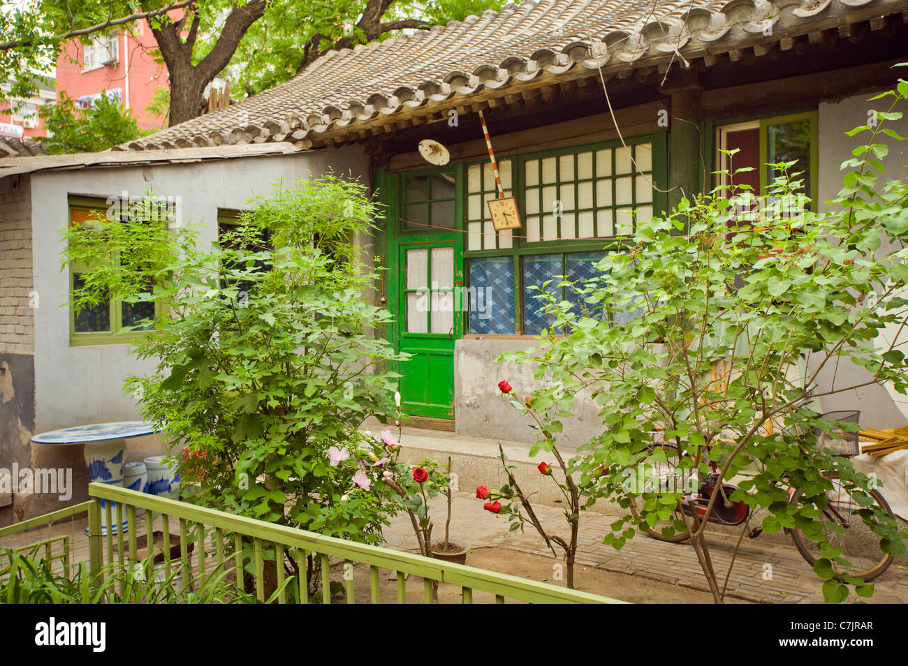 ancient part of BeijingHutong Old City of Peking inner courts typically typical living room traditional old - Stock Image