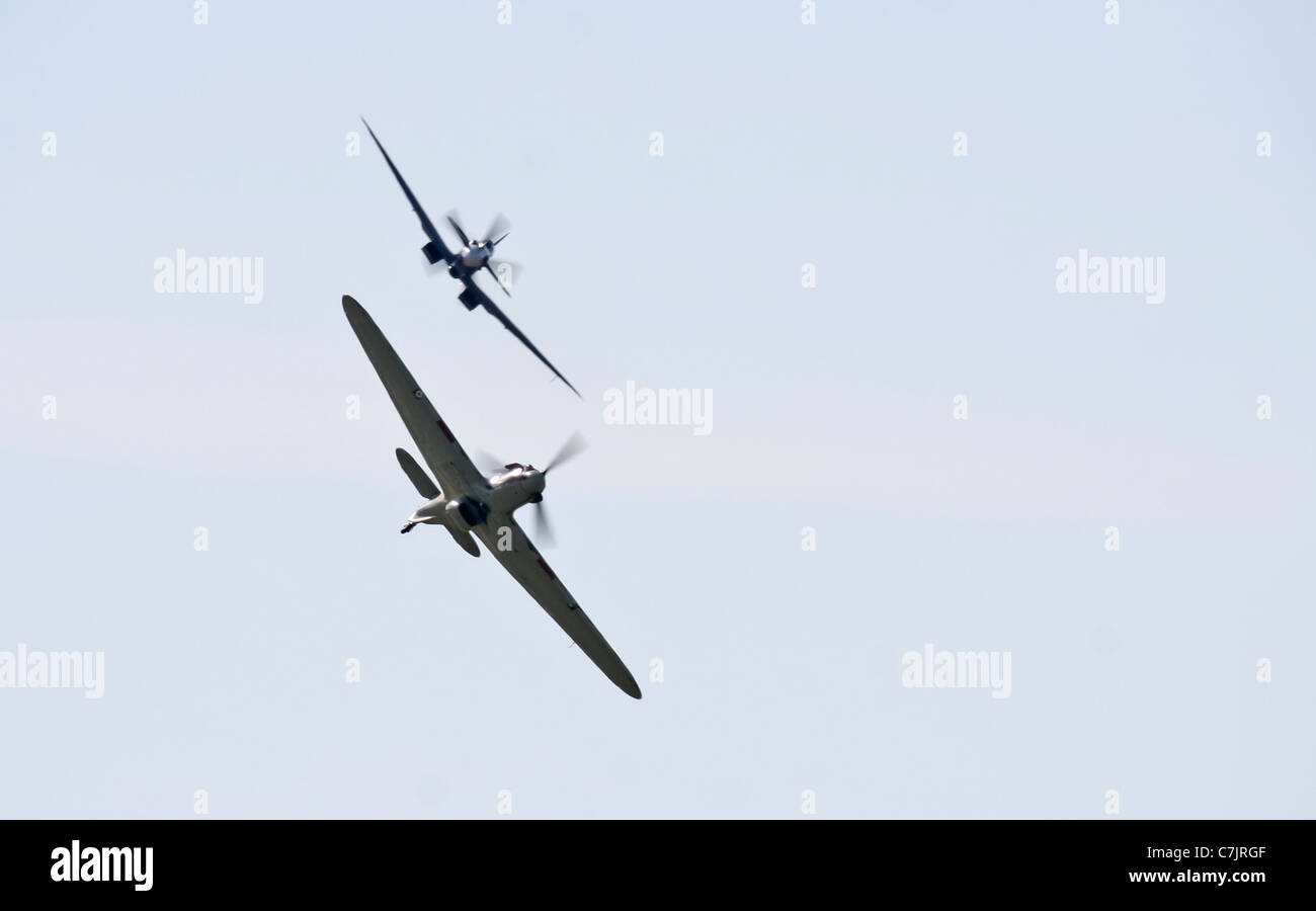 RAF Battle Of Britain Memorial Flights Lancaster Spitfire and Hurricane at the Royal International Air Tattoo - Stock Image