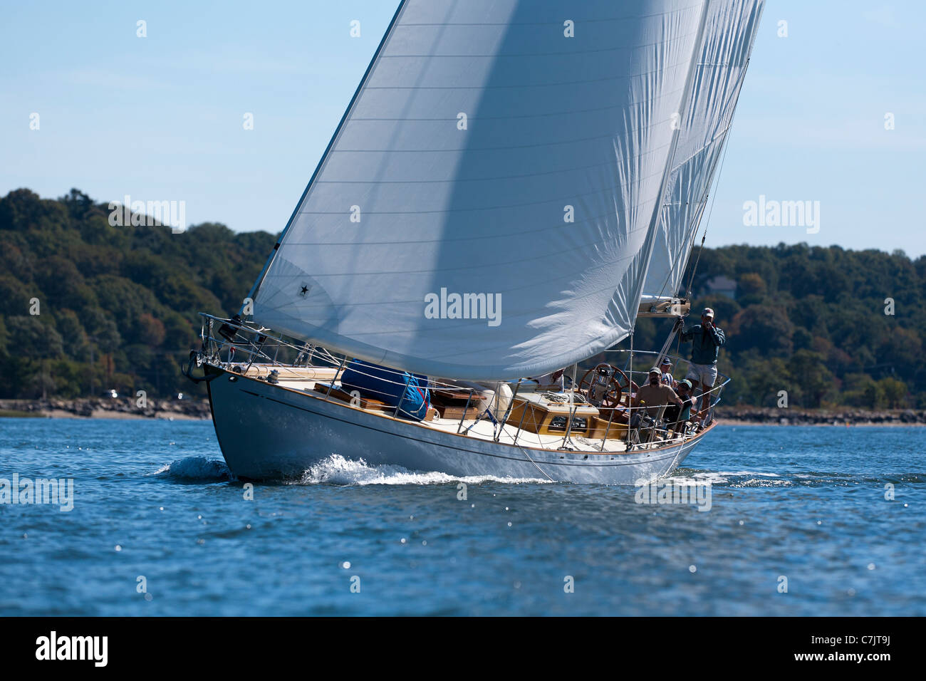 The William Fife designed yacht Clio going upwind in light airs on Oyster bay New York - Stock Image