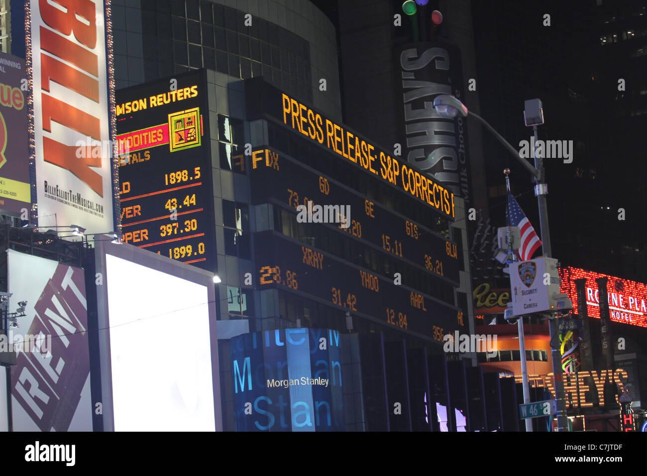 Financial market board in Times Square Stock Photo