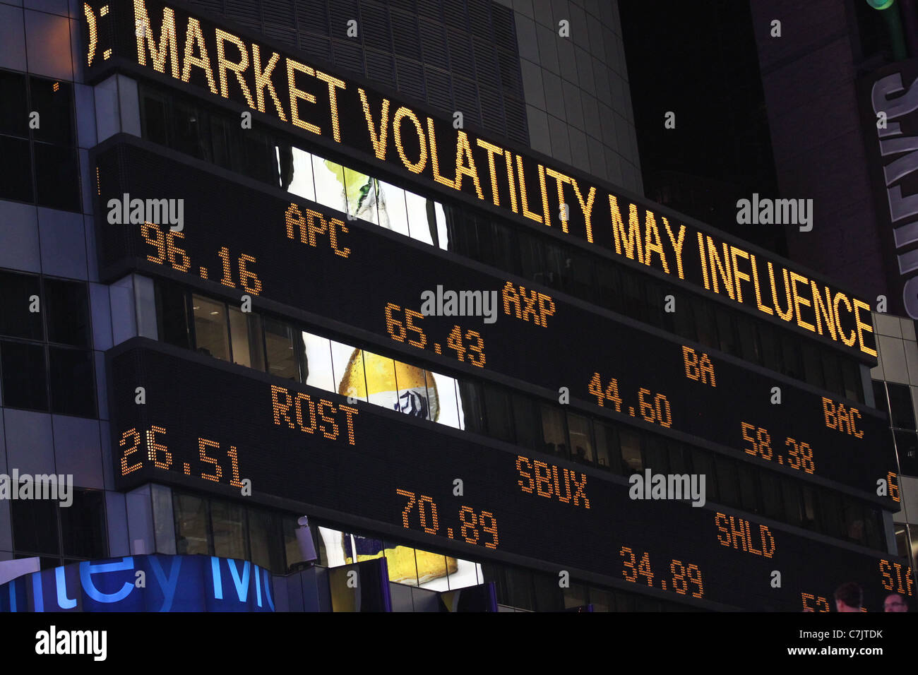 Illuminated stock market board in New York City Stock Photo