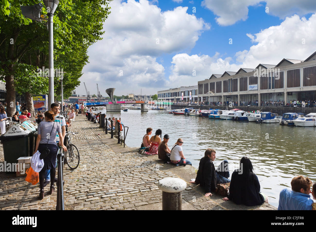 The waterfront at Narrow Quay during the Harbour Festival in July 2011, Bristol Harbour, Bristol, Avon, England, - Stock Image