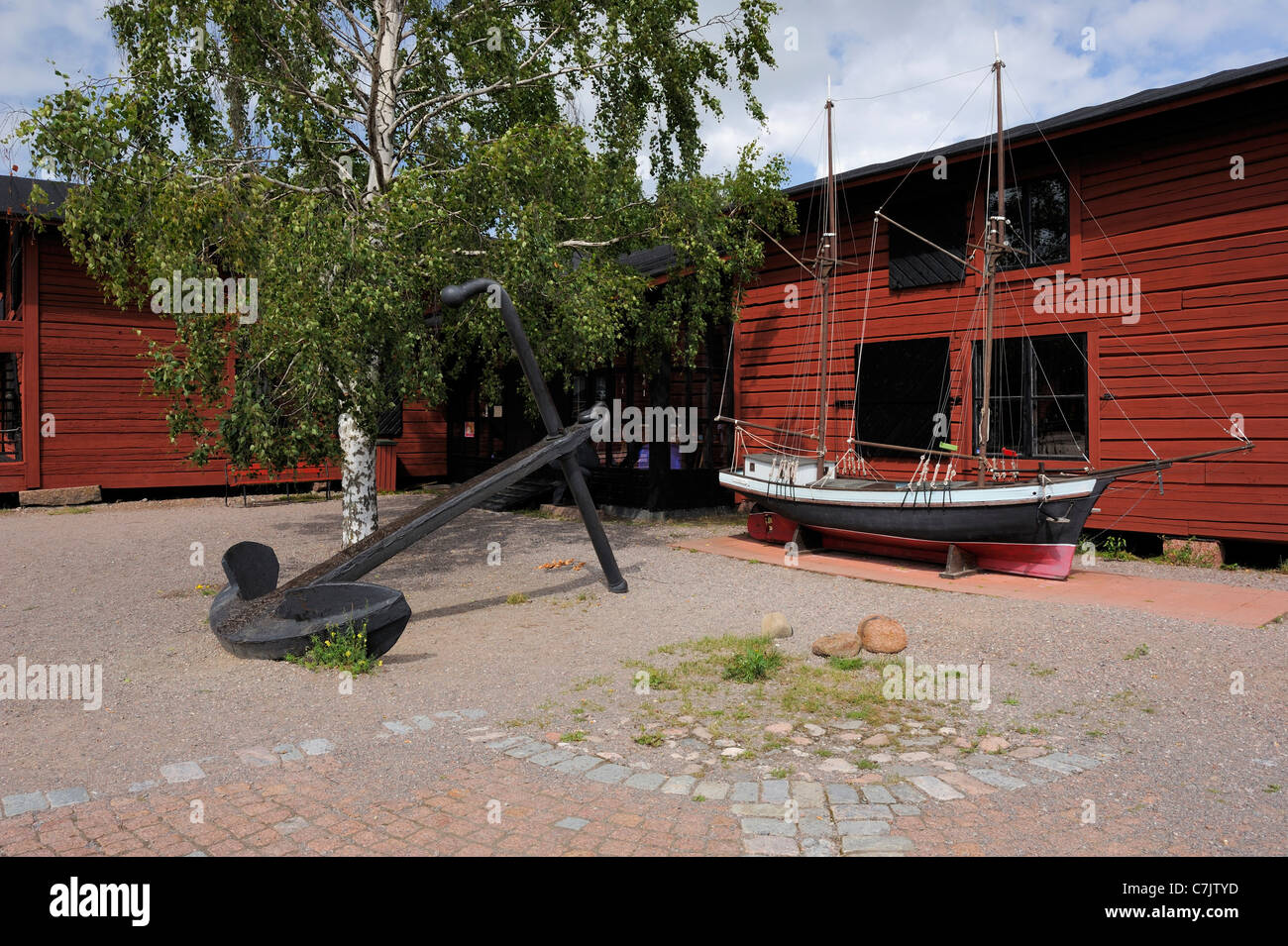 Maritime museum is located in wooden warehouse at Laivasilta area. Museum has a collection of local seafaring items - Stock Image