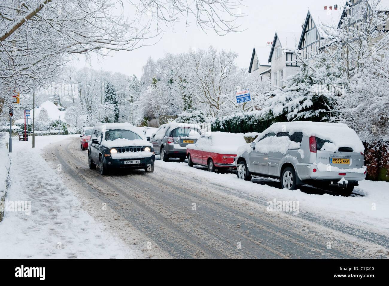 A snowy street scene. - Stock Image