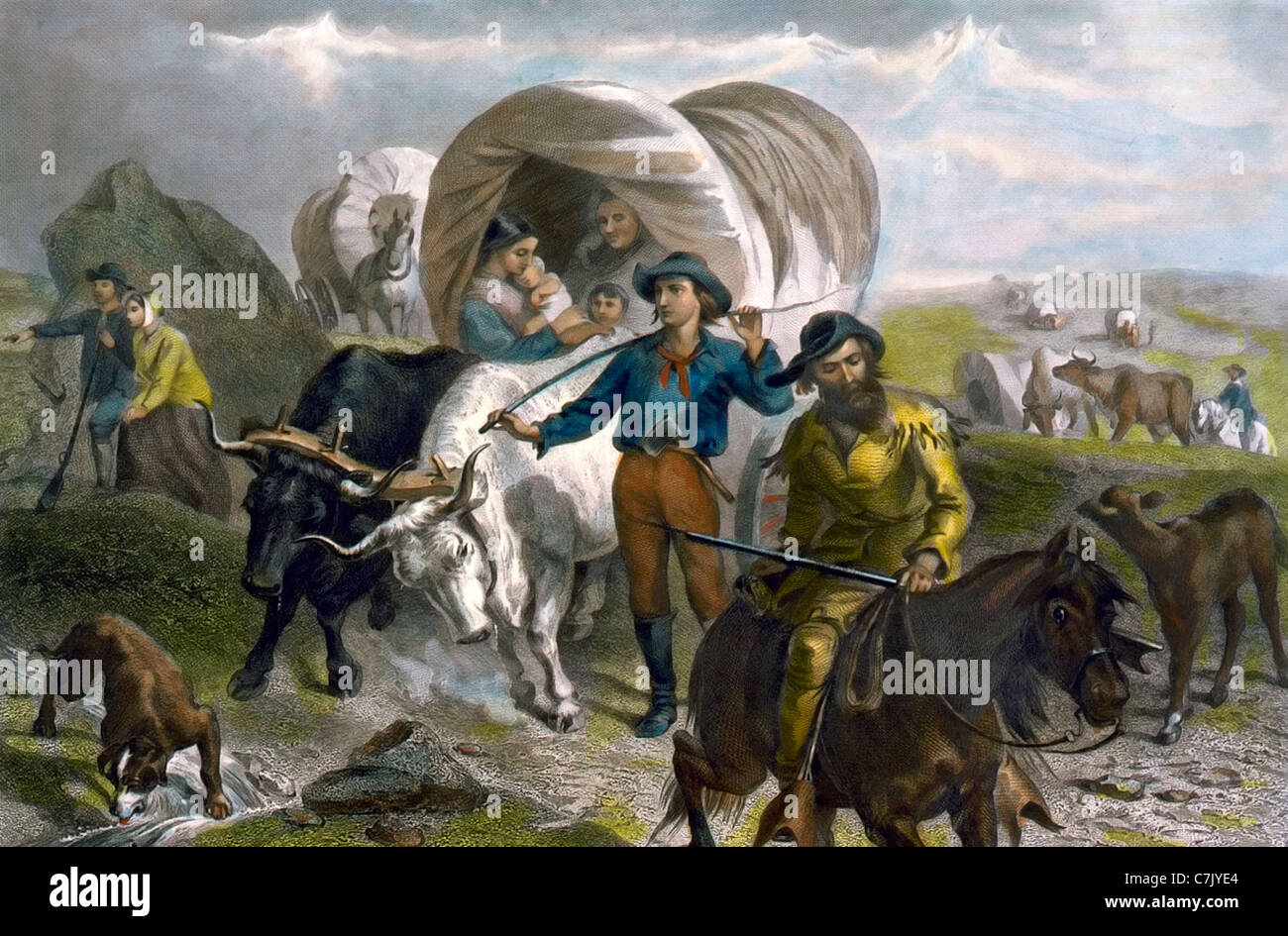 Emigrant party on the road to California - Wagon train of women, men, and children, moving through the mountains. - Stock Image
