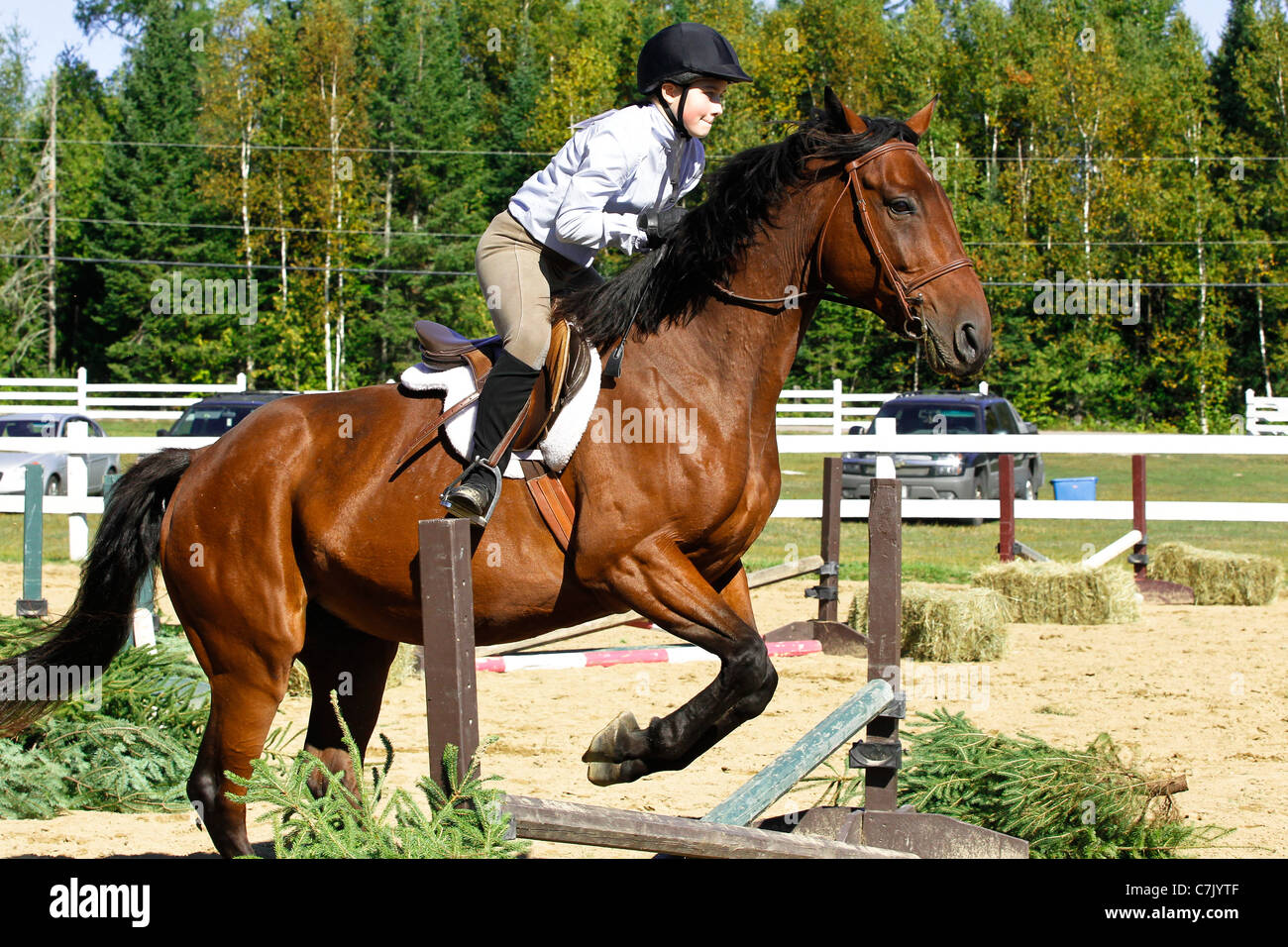 Young girl riding bay horse jumps over a cross rail at a horse show in Ontario, Canada - Stock Image