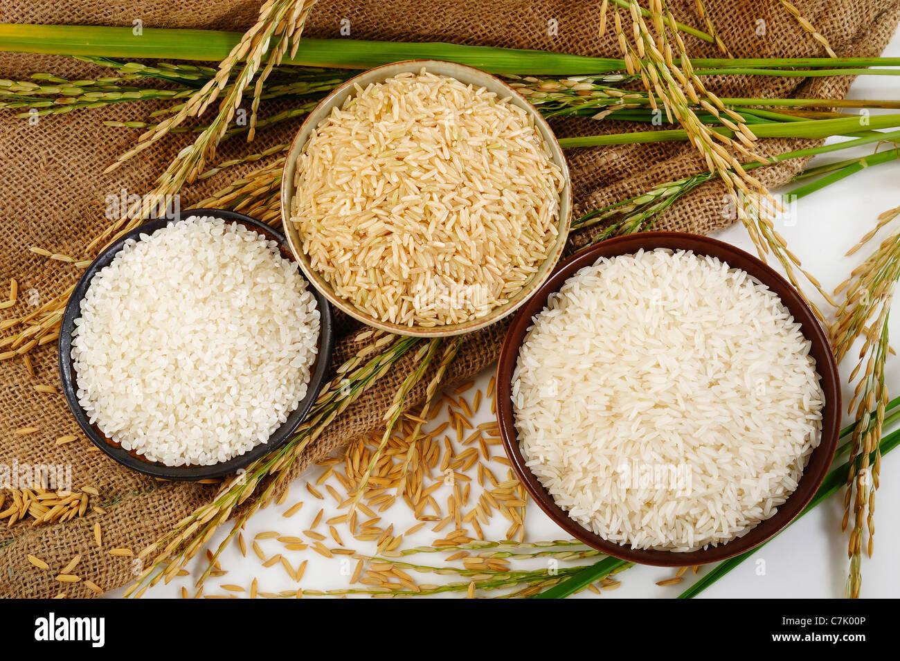 rice on sack background - Stock Image