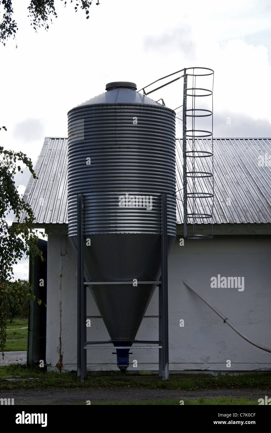 The industrial tank for a forage at the bird's factory - Stock Image
