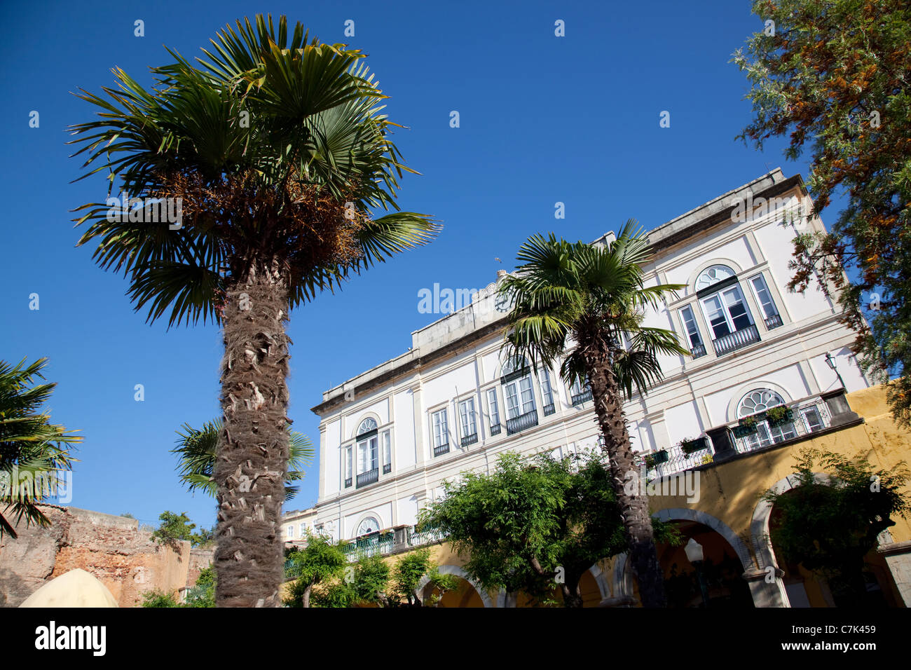 Portugal, Algarve, Silves, Town Hall Garden Stock Photo