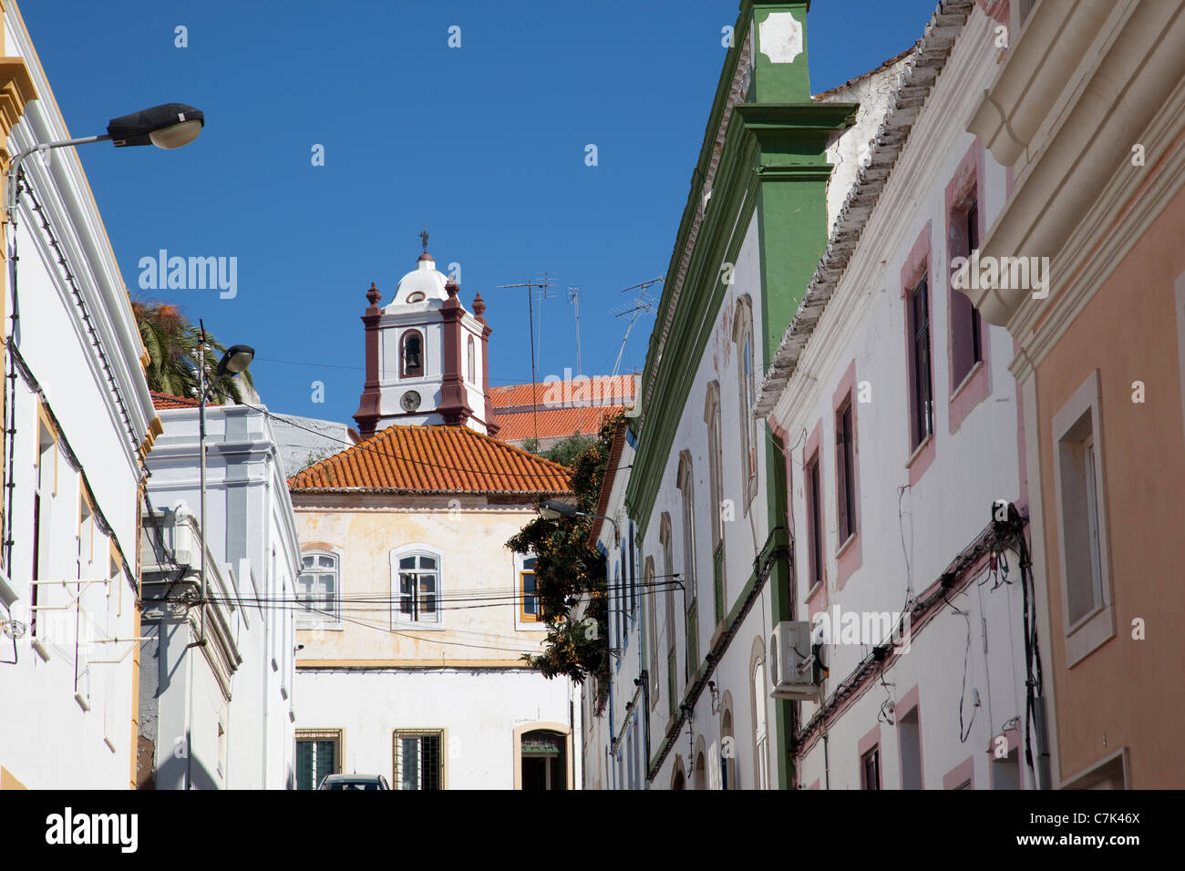 Portugal, Algarve, Silves, Cathedral & Street - Stock Image