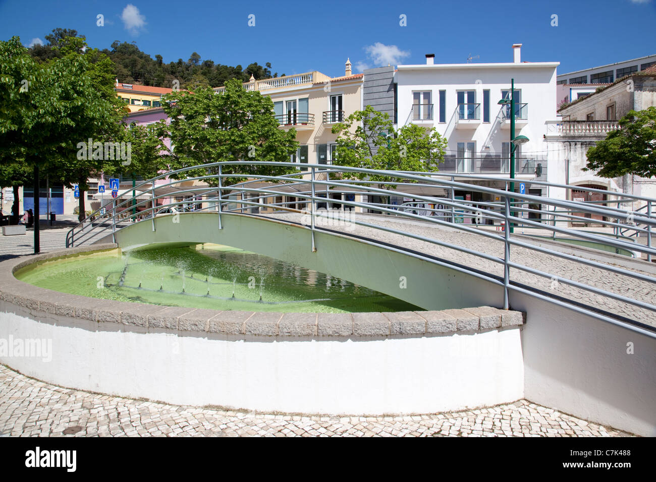 Portugal, Algarve, Monchique, Bridge & Fountain - Stock Image
