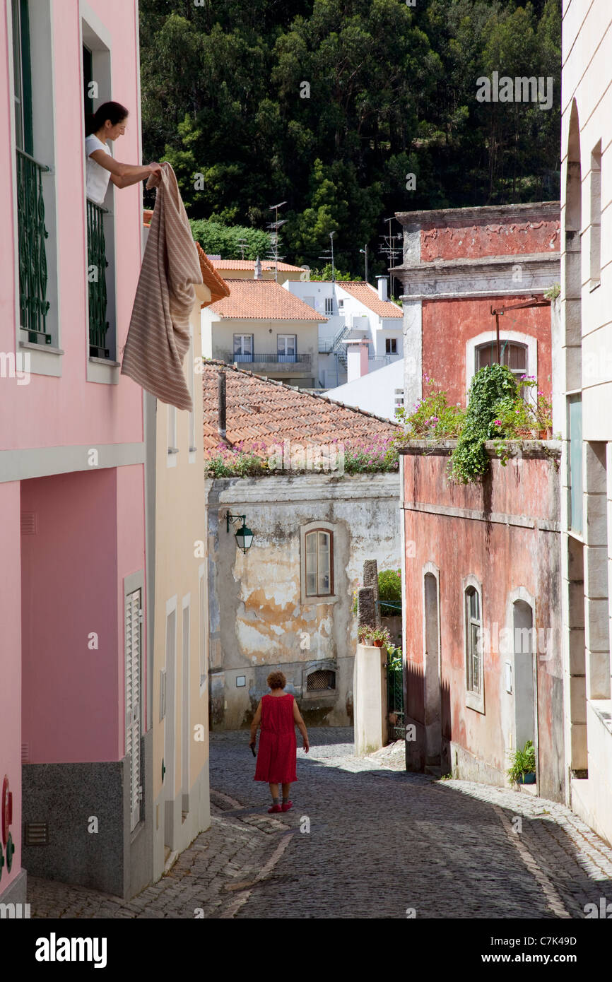 Portugal, Algarve, Monchique, Backstreet & Local People - Stock Image