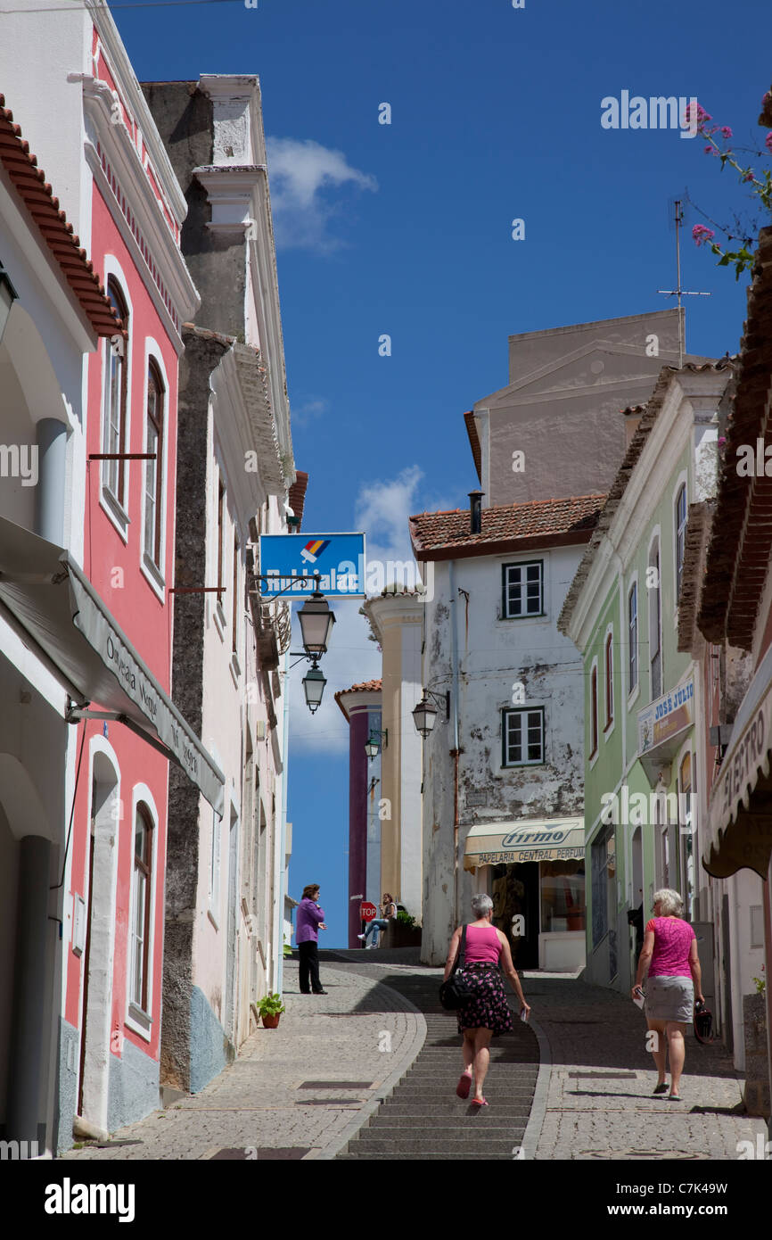 Portugal, Algarve, Monchique, Backstreet & People - Stock Image