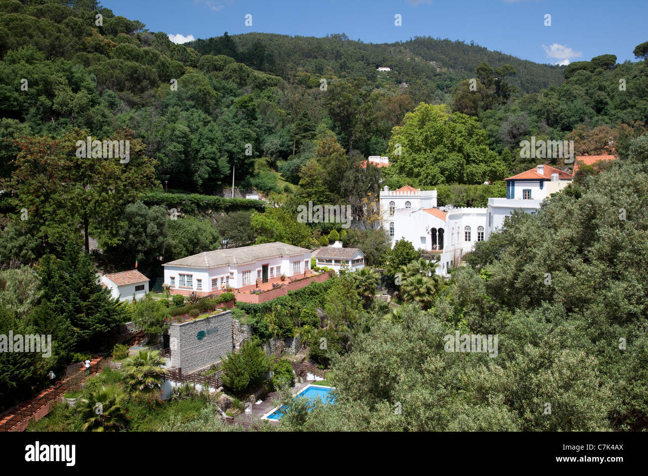 Portugal, Algarve, Caldas De Monchique, View of Village - Stock Image