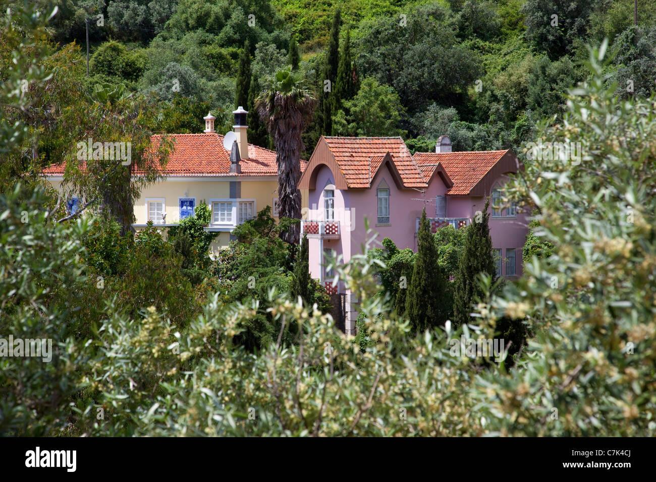 Portugal, Algarve, Caldas De Monchique, View over Village Stock Photo