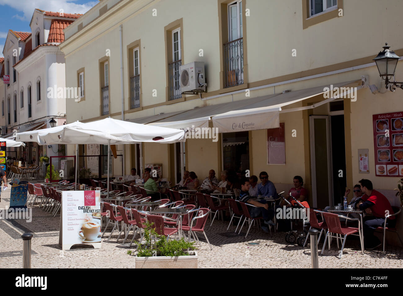 Portugal, Algarve, Silves, Cafes - Stock Image