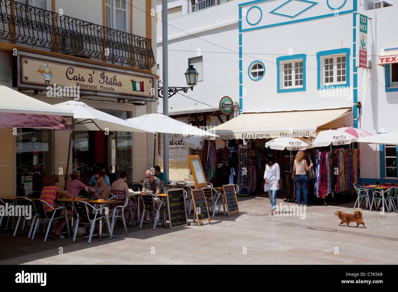 Portugal, Algarve, Albufeira, Shops & Restaurant Stock Photo