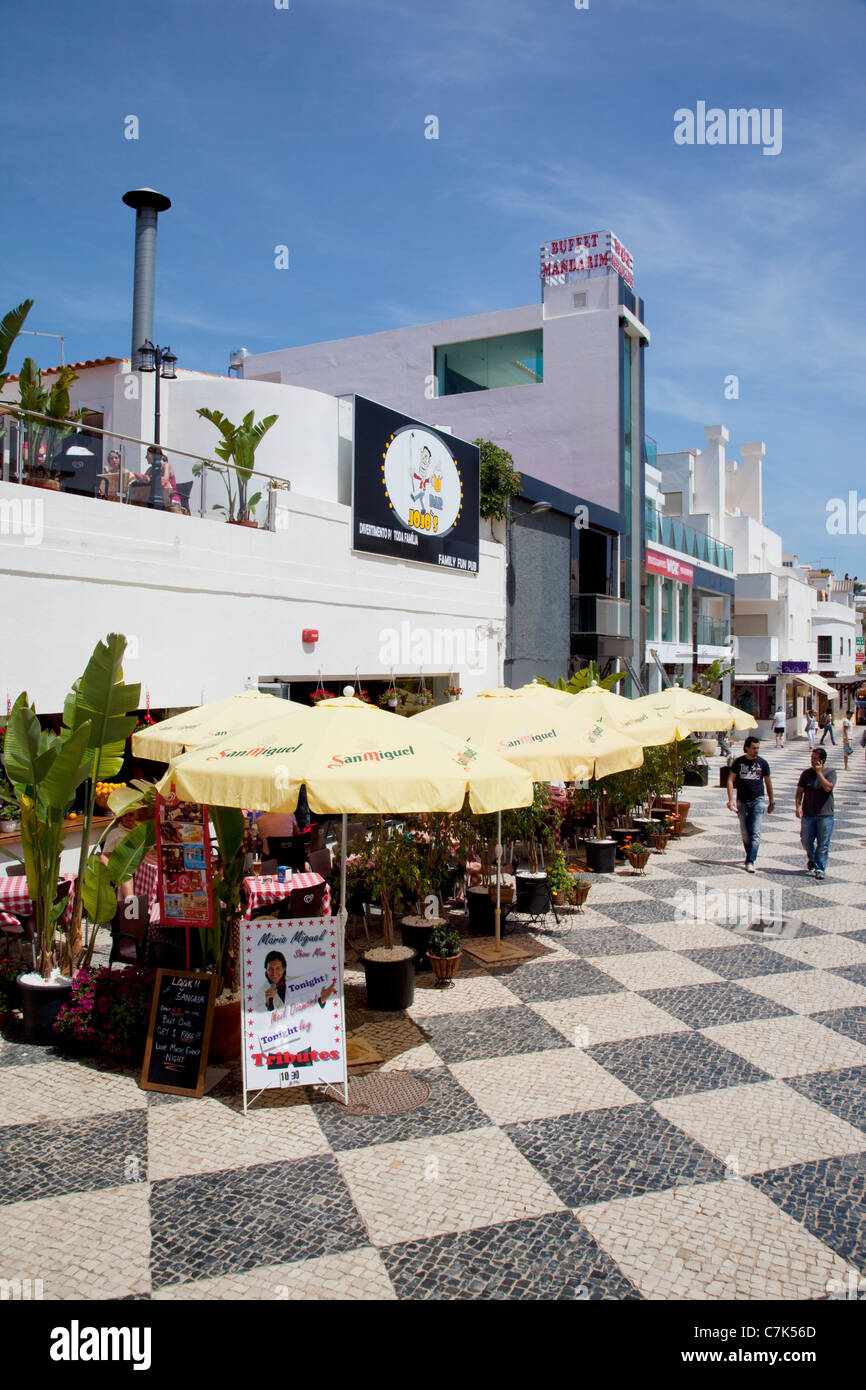 Portugal, Algarve, Albufeira, Shops & Restaurants - Stock Image