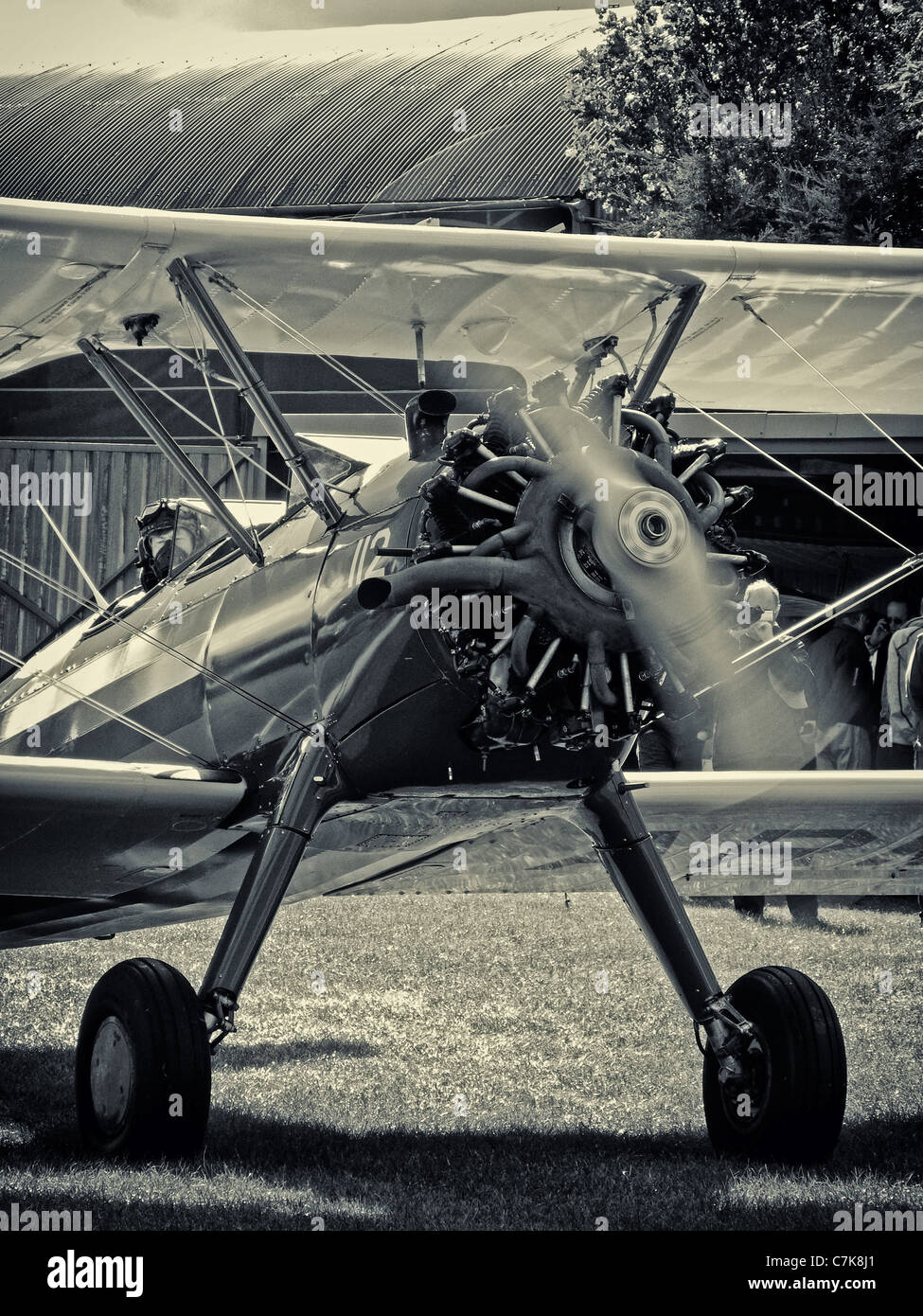Boeing Stearman biplane taxying - Stock Image
