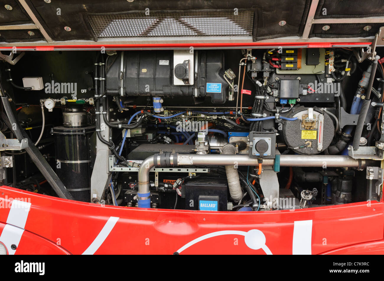 Inside the engine compartment of a Transport for London hydrogen