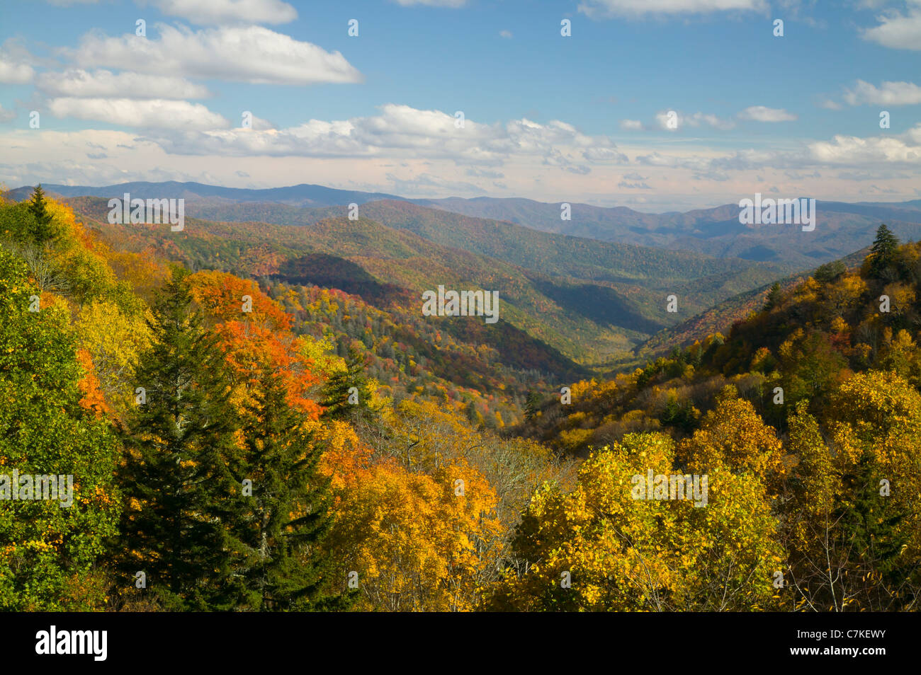 Oconaluftee Valley on a partly cloudy afternoon in Great Smoky Mountains National Park. - Stock Image