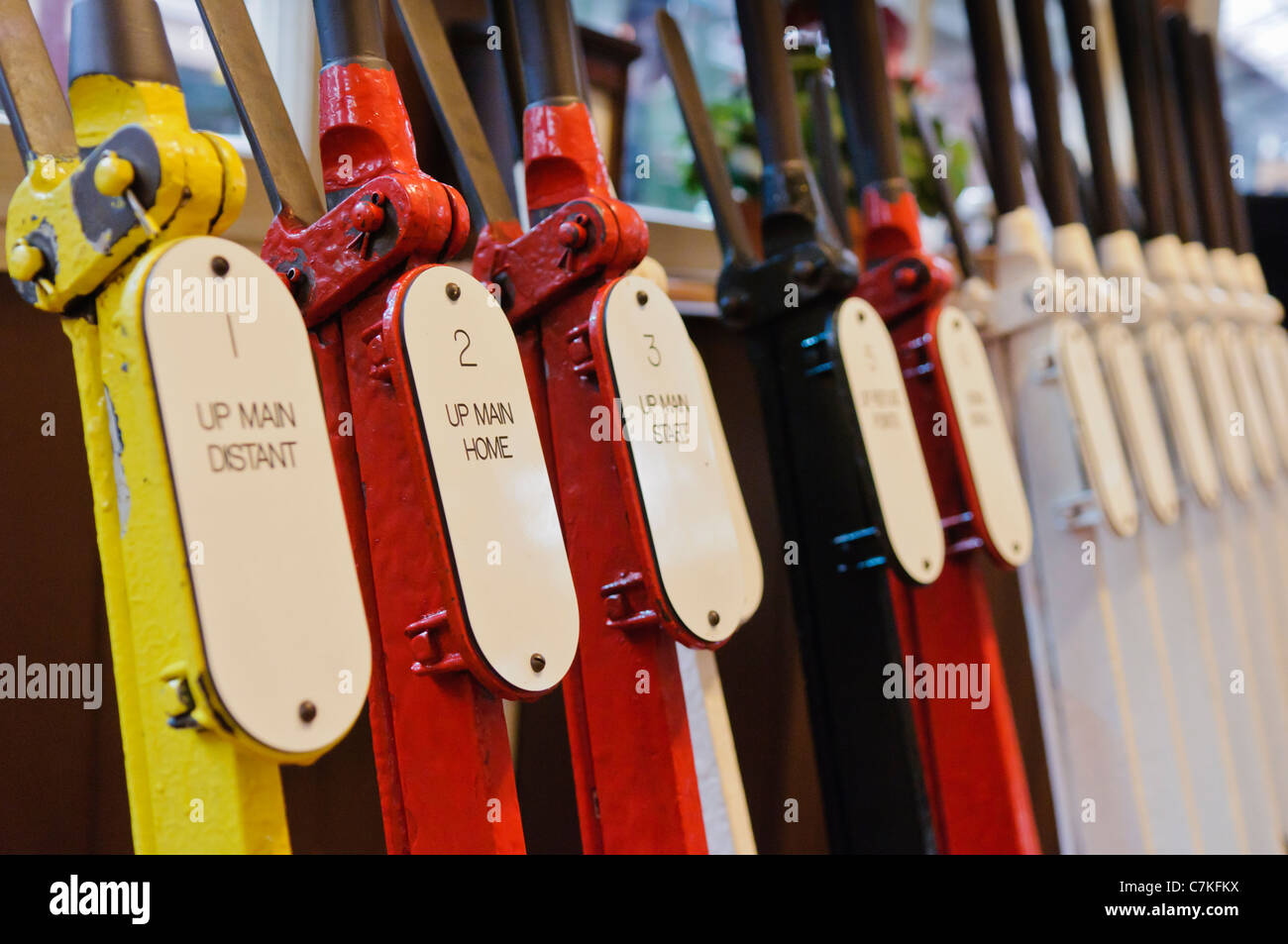 Point and signal levers in a railway signal box. - Stock Image
