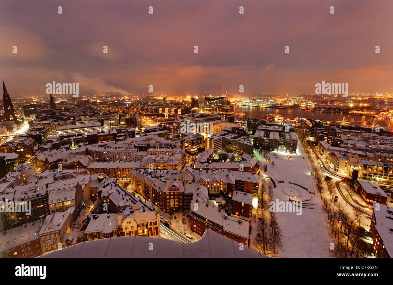 City center, snow, city, panorama, Hamburg, Germany, Europe - Stock Image