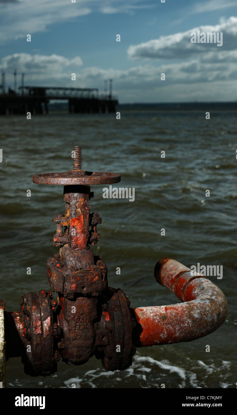Rusty old gate valve. - Stock Image