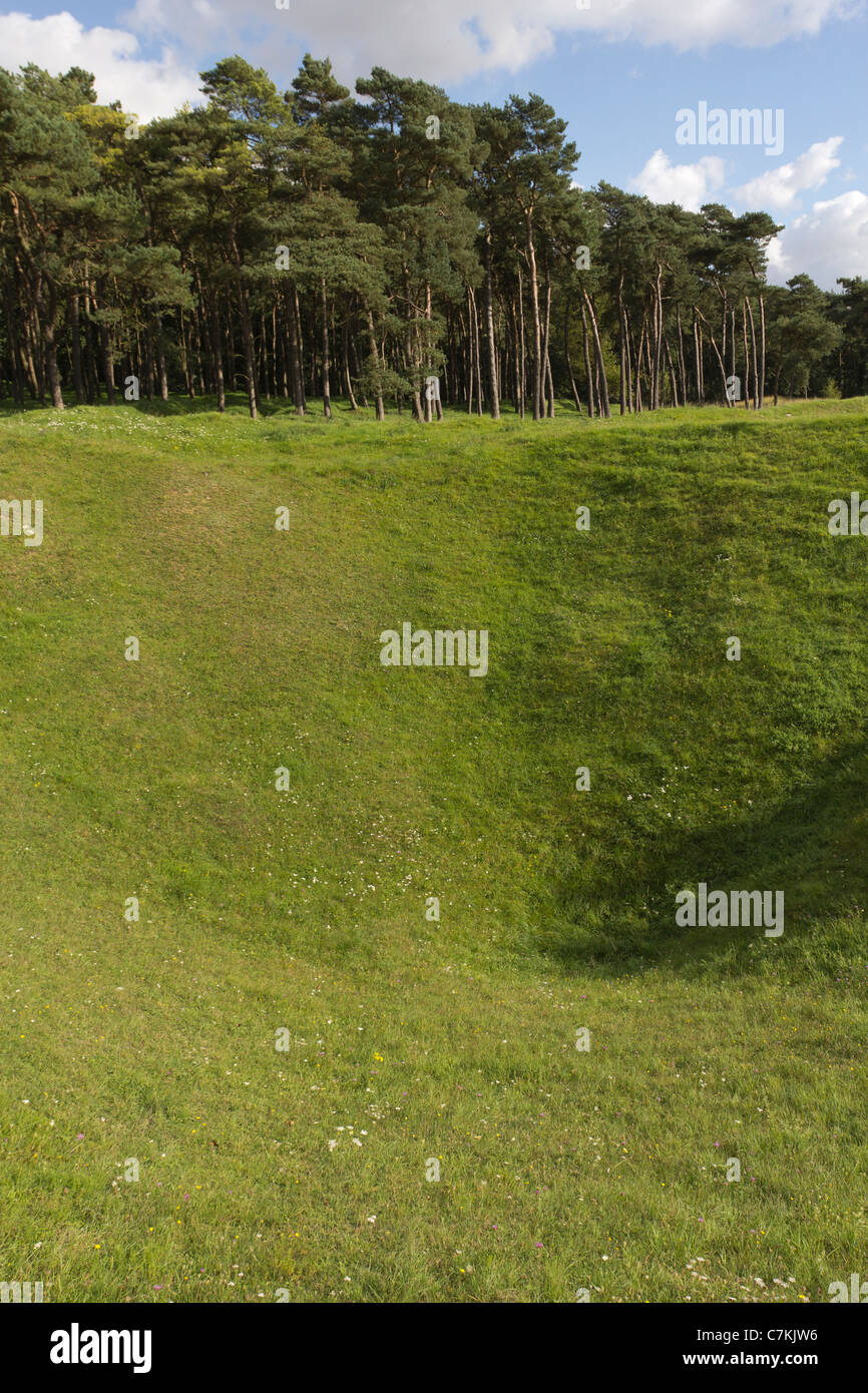 Large crater in preserved battlefield at Vimy Ridge, Pas de Calais, France - Stock Image