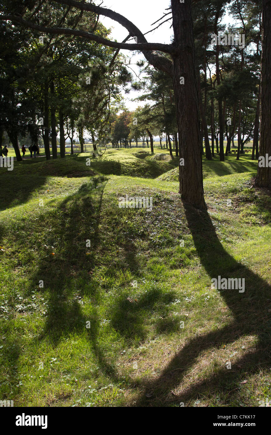 Preserved WW1 battlefield still showing shell craters at Vimy, Pas de Calais, France - Stock Image