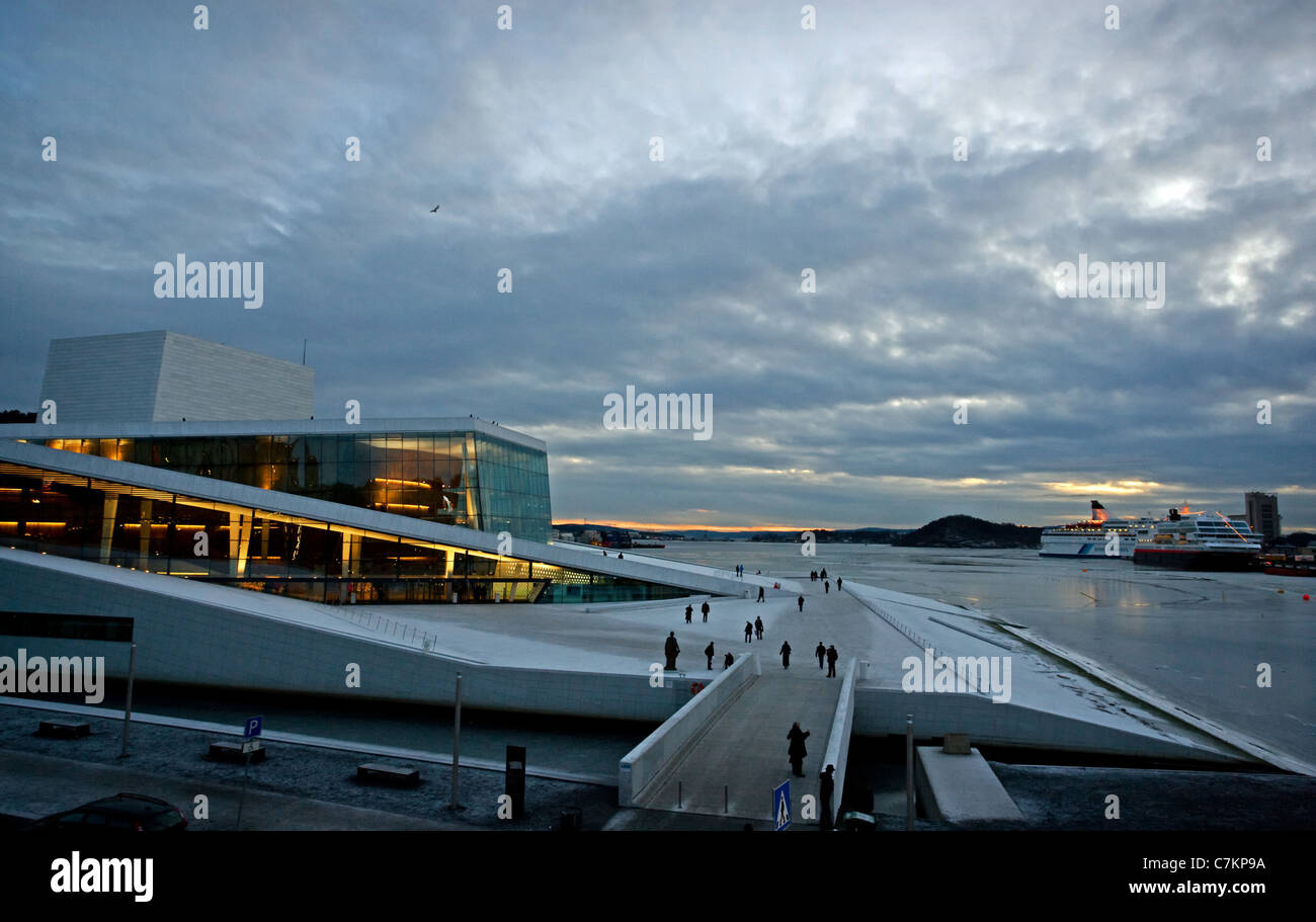 Midwinter dusk at the National Opera House in Oslo Norway - Stock Image