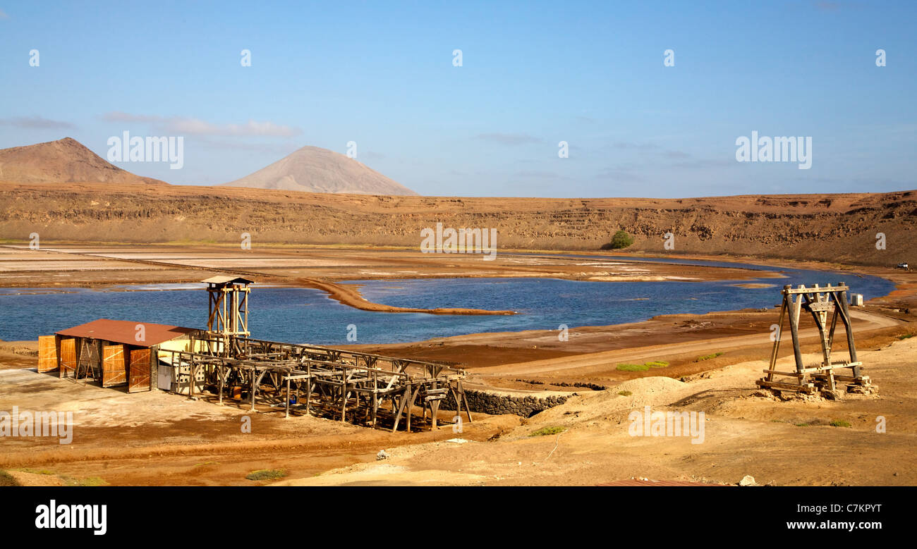 The disused salt production works in the crater of Pedra da Lume on the Cape Verde island of Sal Stock Photo