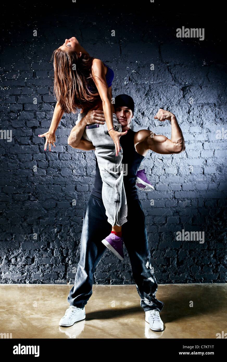 Dancer couple. Contrast colors effect. - Stock Image