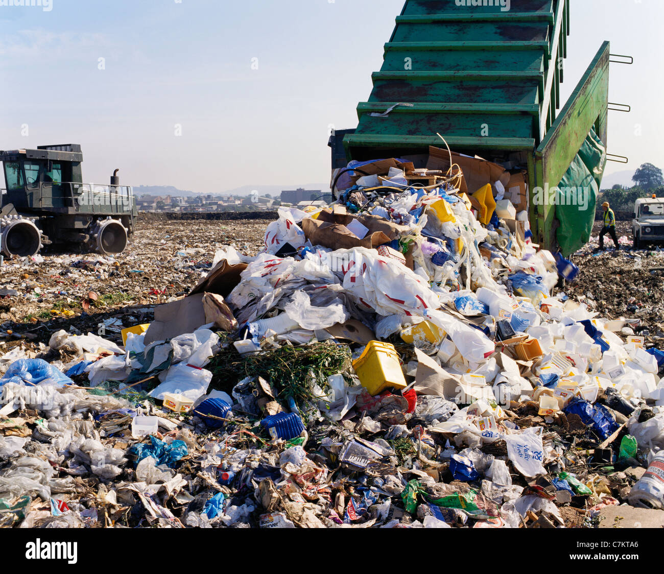 Landfill waste disposal site at Hempsted, Gloucester - Stock Image