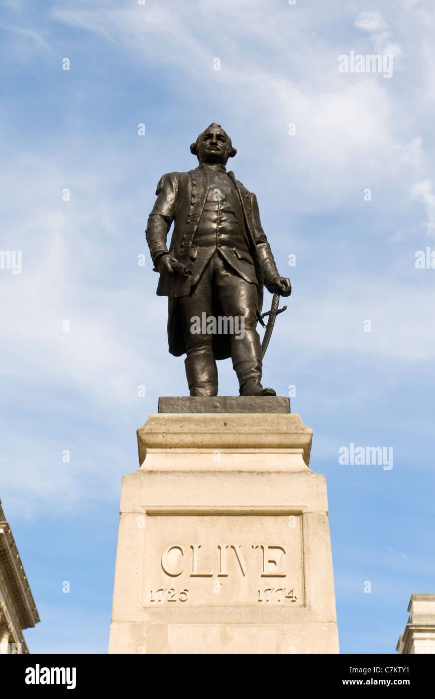 Statue of Robert Clive on Clive Steps in King Charles Street in Whitehall, London - Stock Image