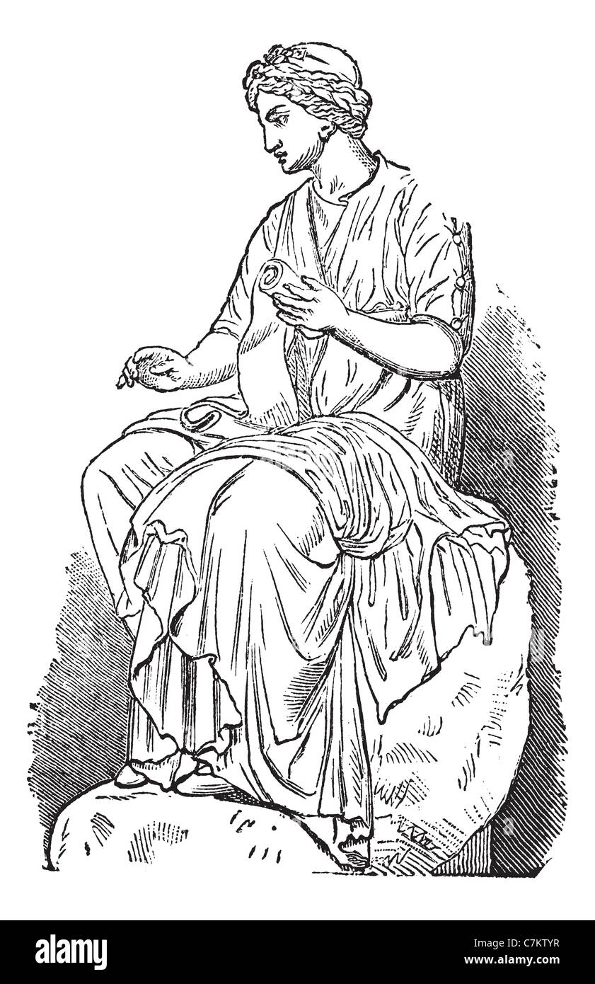 Calliope, Muse of Epic Poetry, vintage engraved illustration. Trousset encyclopedia (1886 - 1891). - Stock Image
