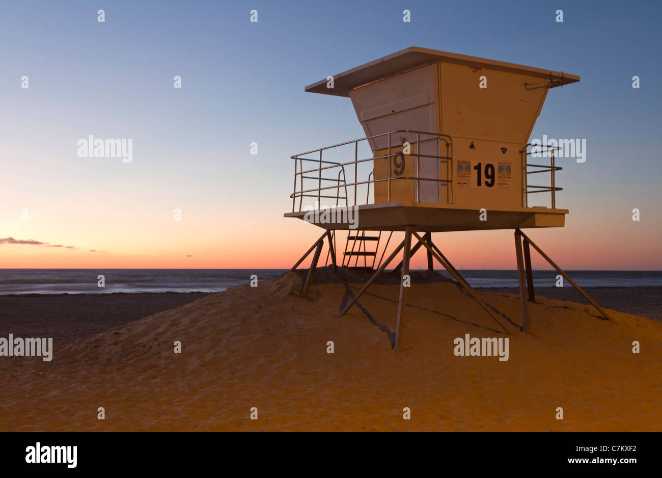 Guard tower at a beach, California, USA - Stock Image