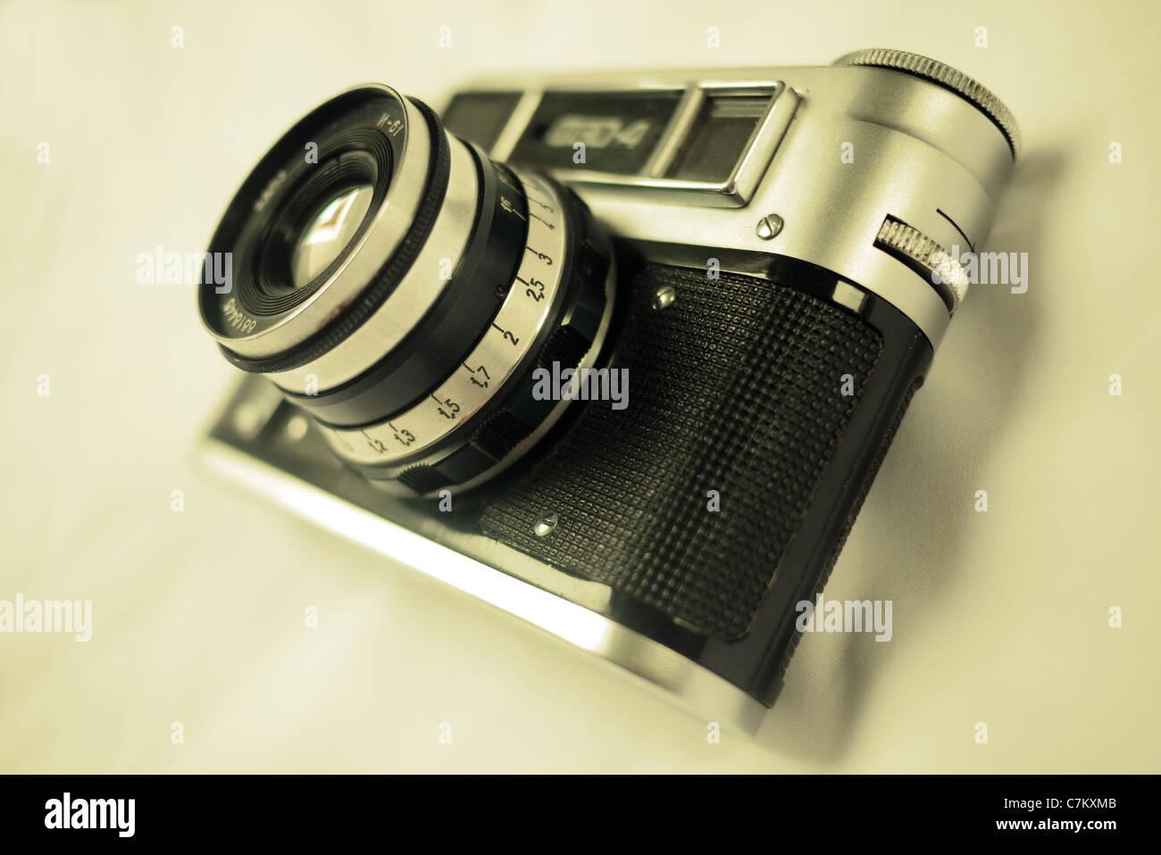 old Fed 4 35mm rangefinder camera - Stock Image